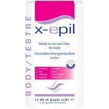 X-Epil Használatra Kész Gyantacsíkok Testre 12 db (6 dupla csík)